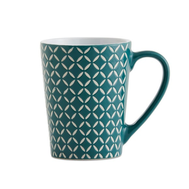 Set of 4 Teal Diamond Mugs Teal (Blue)