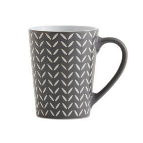 Set of 4 Charcoal Chevron Mugs