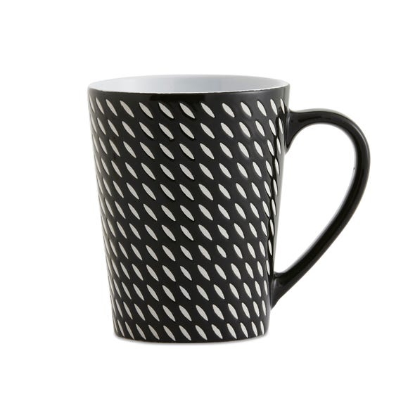 Set of 4 Black Dash Mugs Black