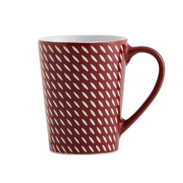 Set of 4 Red Dash Mugs Red