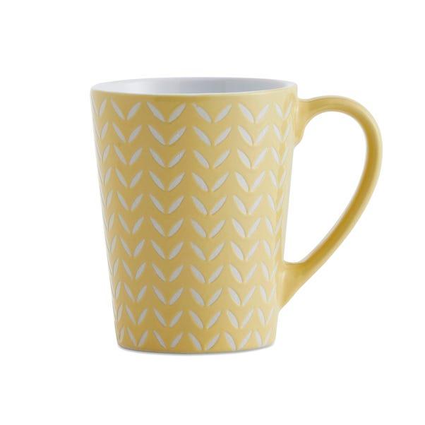Set of 4 Yellow Chevron Mugs Yellow