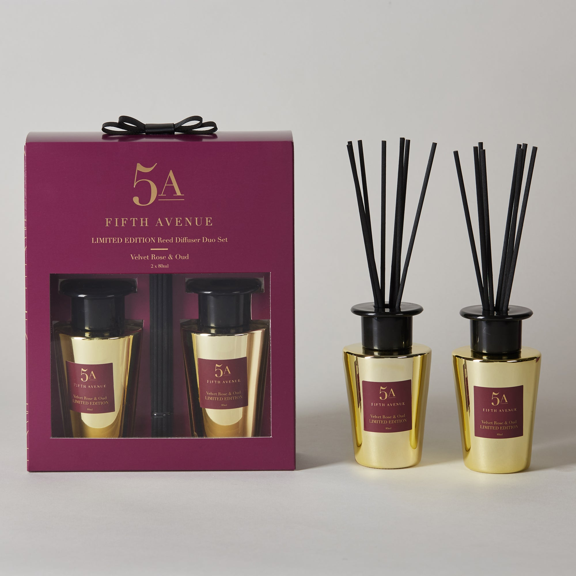 Click to view product details and reviews for 5a Fifth Avenue Rose And Oud Set Of 2 80ml Diffusers Purple.