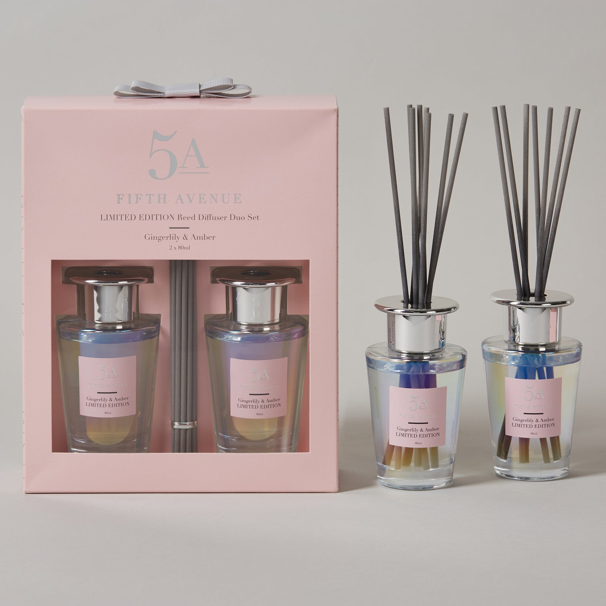 5a Fifth Avenue Set Of 2 Gingerlily And And Amber Diffusers Pink