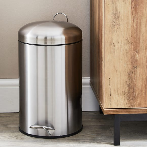 Stainless Steel 12 Litre Round Pedal Bin Silver