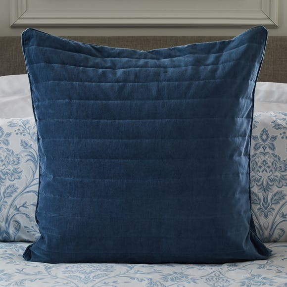 Dorma Remington Cotton Velvet Blue Continental Square Pillowcase Blue