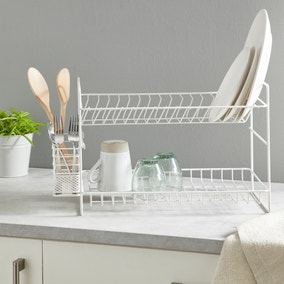 2 Tier Cream Dish Drainer and Cutlery Holder