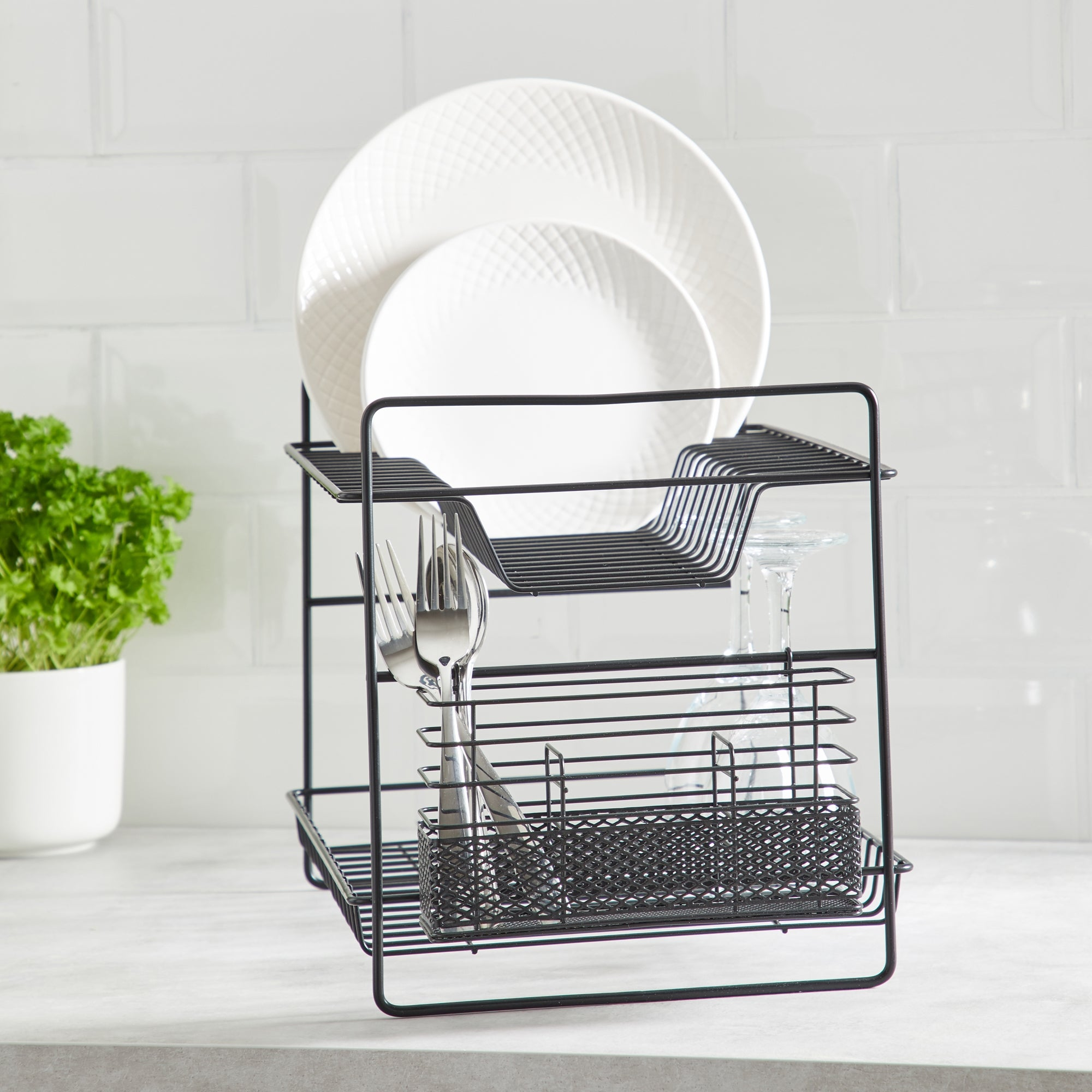 2 Tier Matt Black Dish Drainer and Cutlery Holder Black