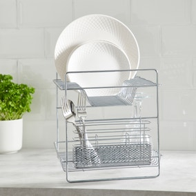 2 Tier Chrome Dish Drainer and Cutlery Holder