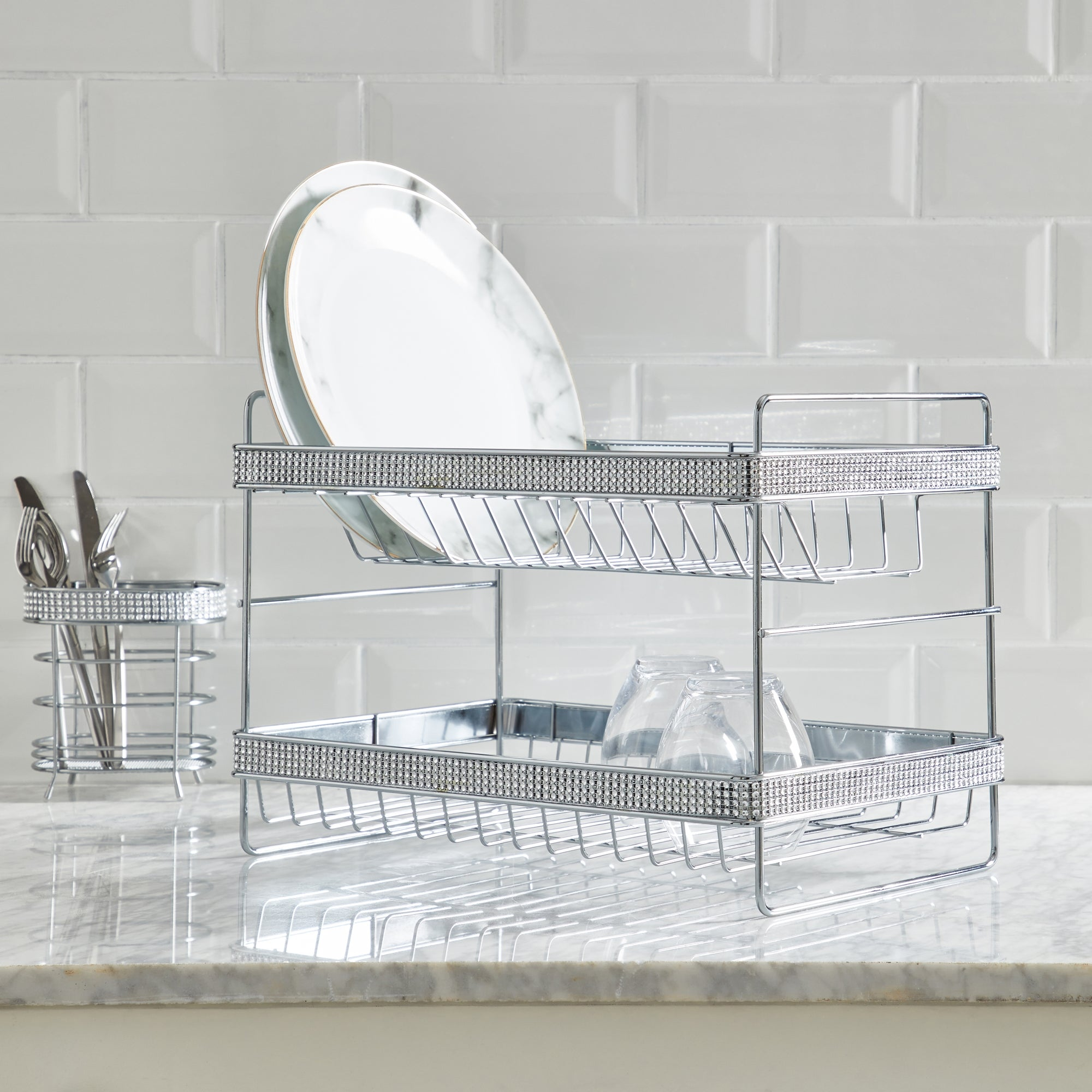 2 Tier Bling Diamante Dish Drainer Silver