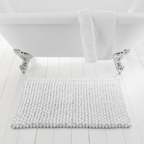 Pebble White Bath Mat