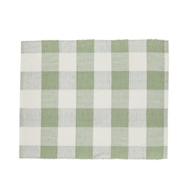 Set of 2 Metallic Green Check Placemats
