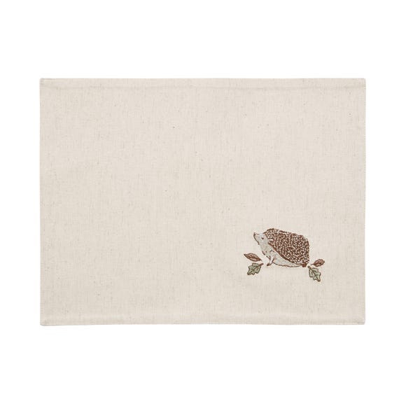 Set of 2 Hedgehog Embroidered Placemats Natural