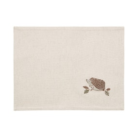 Set of 2 Hedgehog Embroidered Placemats