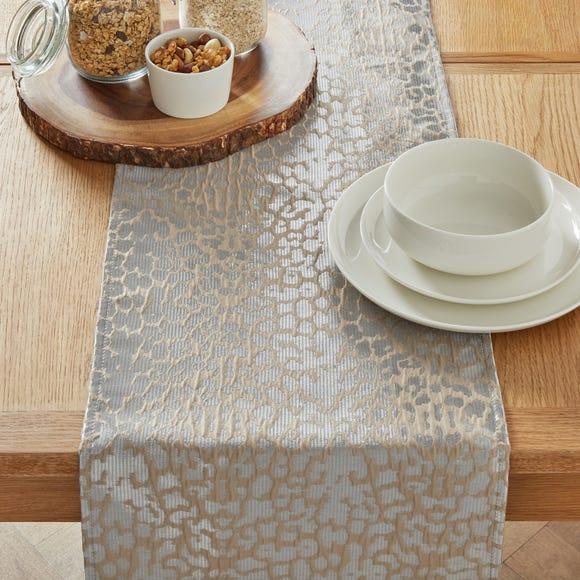 Leopard Jacquard Silver Table Runner Silver