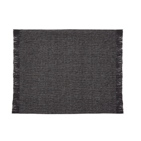 Set of 2 Chambray Weave Black Placemats