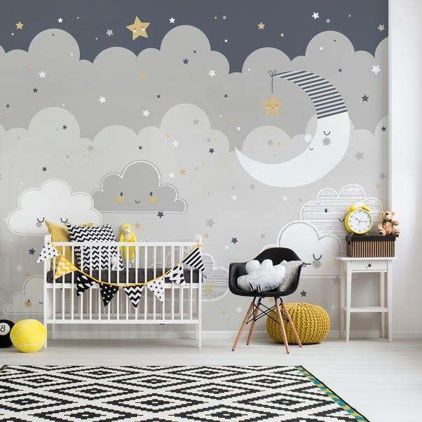 Floating Clouds Mural Grey