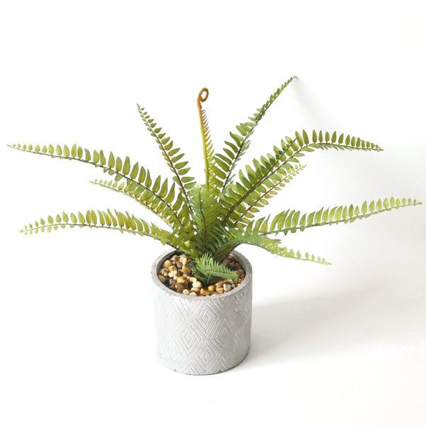 Artificial Fern Green in Zig Zag Pot 40cm Green
