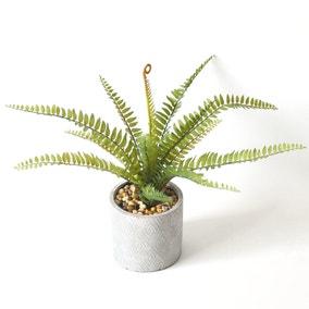 Artificial Fern Green in Zig Zag Pot 40cm