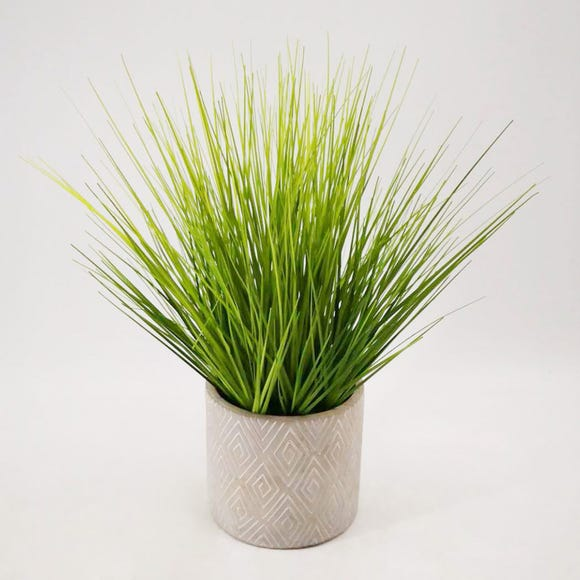 Artificial Grass Green in Zig Zag Pot 35cm Green