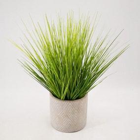 Artificial Grass Green in Zig Zag Pot 35cm