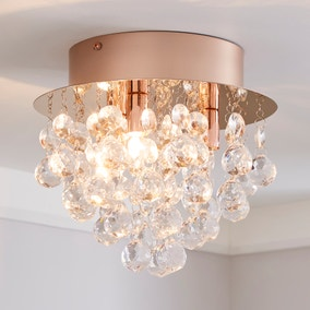 Torto Jewel Rose Gold Flush Ceiling Fitting