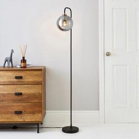 Tanner Black and Glass Floor Lamp