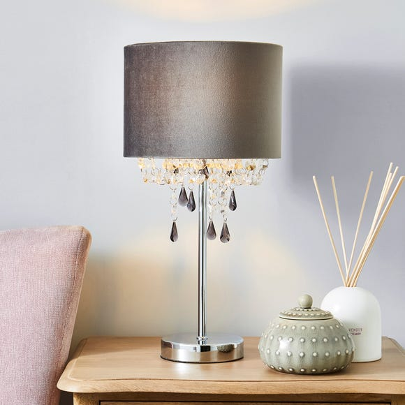 Halle Grey French Velvet Jewel Table Lamp Grey