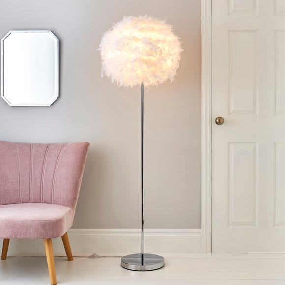 Chloe Feather White Floor Lamp Silver