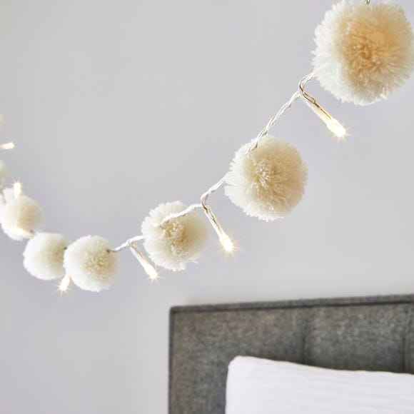 White Pom Pom 10 Light String Lights White