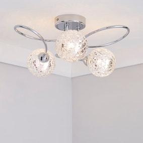 Vigo 3 Light Glass Semi-Flush Ceiling Fitting