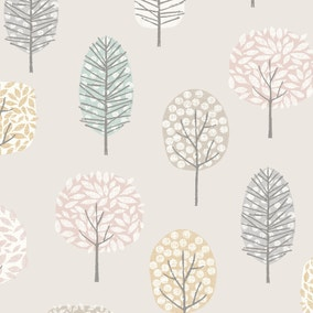 Sweet Trees Fabric Pink Cotton Fabric