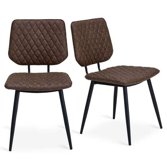 Austin Set of 2 Dining Chairs Brown PU Leather Brown