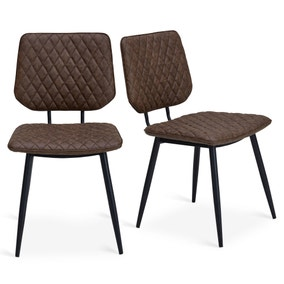 Austin Set of 2 Dining Chairs Brown PU Leather