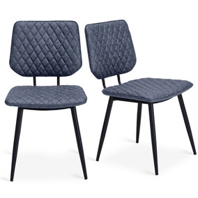 Austin Set Of 2 Dining Chairs Grey PU Leather