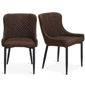 Montreal Set of 2 Dining Chairs Brown PU Leather