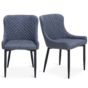 Montreal Set Of 2 Dining Chairs Grey Pu Leather Dunelm