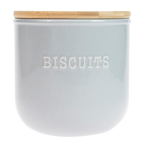 Embossed Grey Biscuit Canister Grey