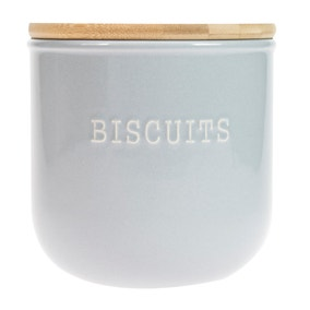 Embossed Grey Biscuit Canister