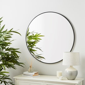 Round Framed Wall Mirror 80cm Black