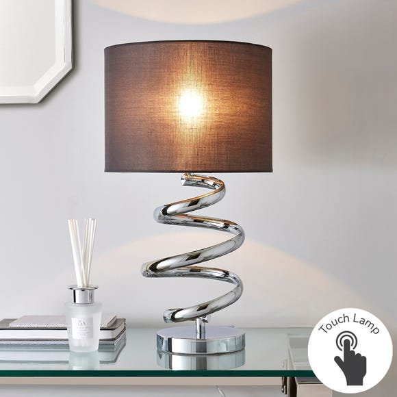 Etta Chrome Touch Dimmable Table Lamp Grey