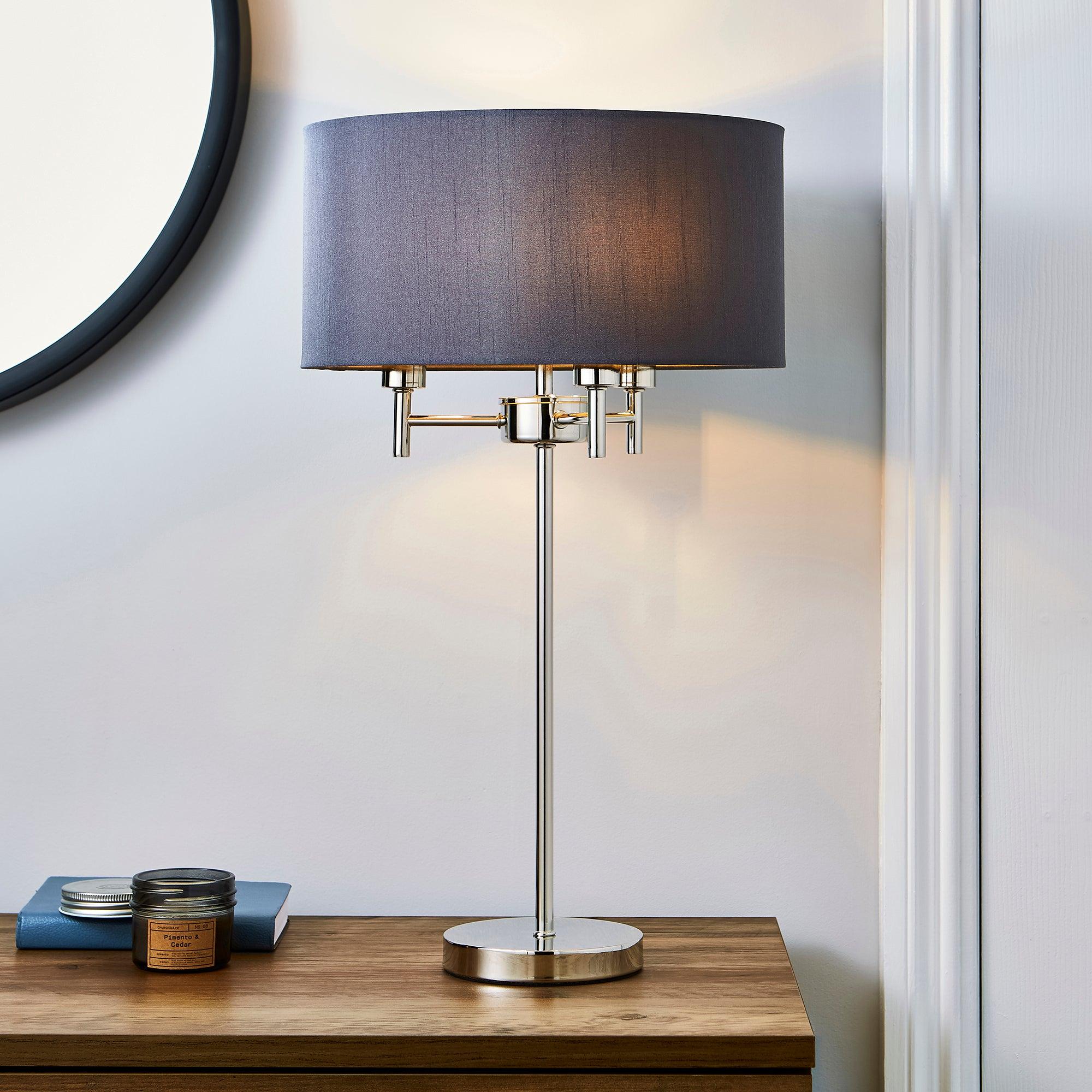 5A Edmonton 3 Light Chrome Table Lamp Grey