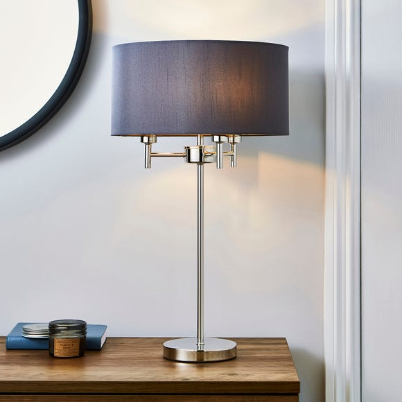 5A Edmonton 3 Light Chrome Table Lamp Grey