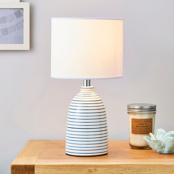 Tenby Ceramic White and Blue Table Lamp White