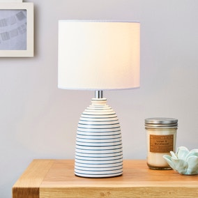Tenby Ceramic White and Blue Table Lamp