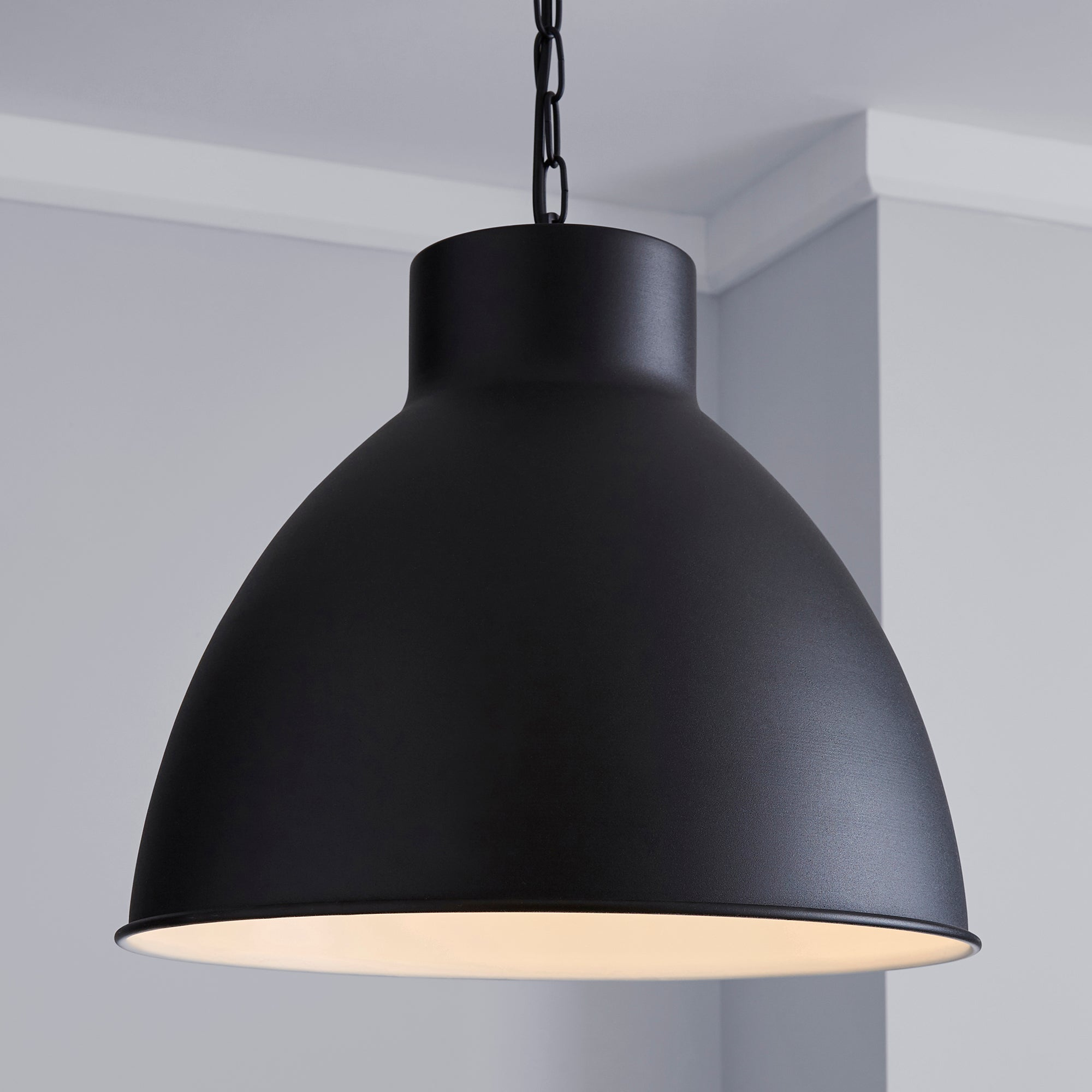 Dunelm Clea 1 Light Pendant Metal Dome Black Ceiling Fitting Black