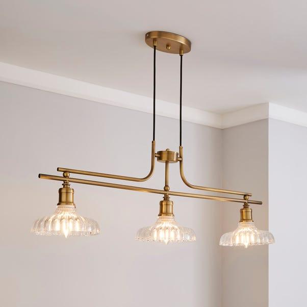 Colt 3 Light Diner Antique Brass Ceiling Fitting Dunelm
