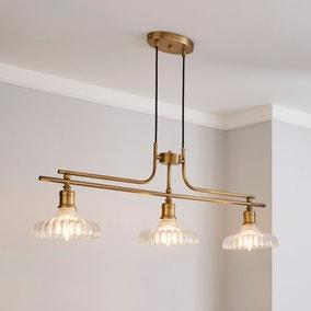 Colt 3 Light Diner Antique Brass Ceiling Fitting