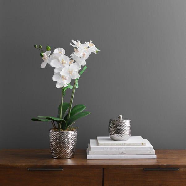 Artificial Orchid White In Silver Pot 28cm White