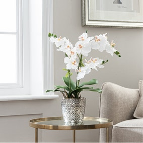 Artificial Orchid White In Silver Pot 28cm