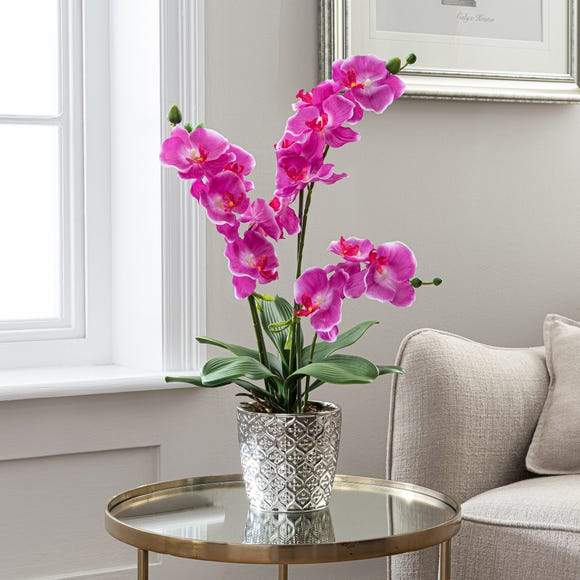 Artificial Orchid Pink in Silver Vase 28cm Pink